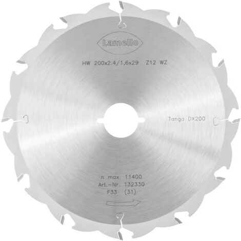 Lame de scie circulaire Ø200 x 2.4 x 29 mm LAMELLO - Métal dur Z12 - Prof.70 mm - Pour fenêtre bois - 132330