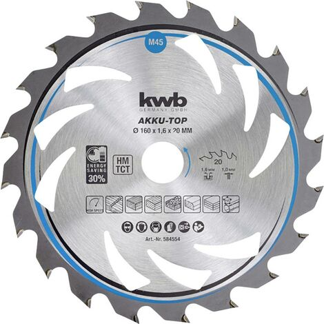 Lame de scie circulaire au carbure kwb 584354 160 x 16 x 1 mm Nombre de dents: 20 1 pc(s)