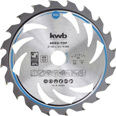 Lame de scie circulaire au carbure kwb 584554 160 x 20 x 1.0 mm Nombre de dents: 20 1 pc(s)