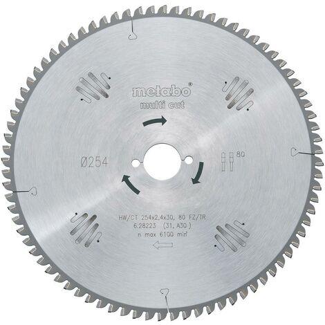 Lame de scie circulaire au carbure Metabo HW/CT 216X30 60 FZ/TR5 628083000 216 x 30 x 1.8 mm Nombre de dents: 60 1 pc(s