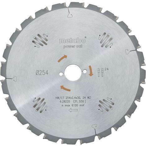 Lame de scie circulaire au carbure Metabo HW/CT 254X30 24 WZ 628220000 254 x 30 x 1.8 mm Nombre de dents: 24 1 pc(s)