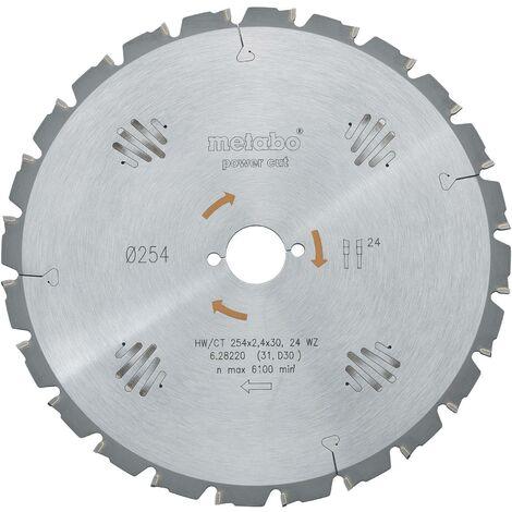 Lame de scie circulaire au carbure Metabo HW/CT 254X30 24 WZ 628220000 254 x 30 x 1.8 mm Nombre de dents: 24 1 pc(s) C51245