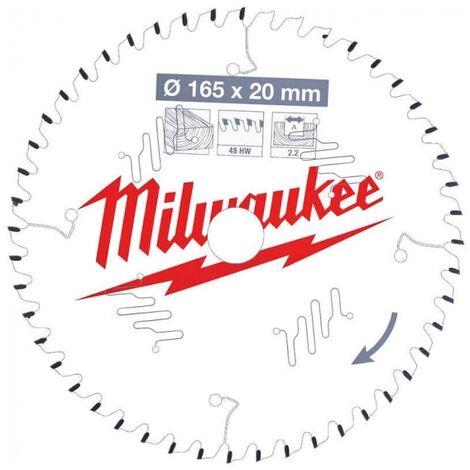 Lame de scie circulaire bois 165x20x2.2 48 dents Milwaukee