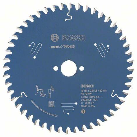 Lame de scie circulaire Bosch Accessories Expert for Wood 2608644024 165 x 20 x 1.6 mm Nombre de dents: 48 1 pc(s)