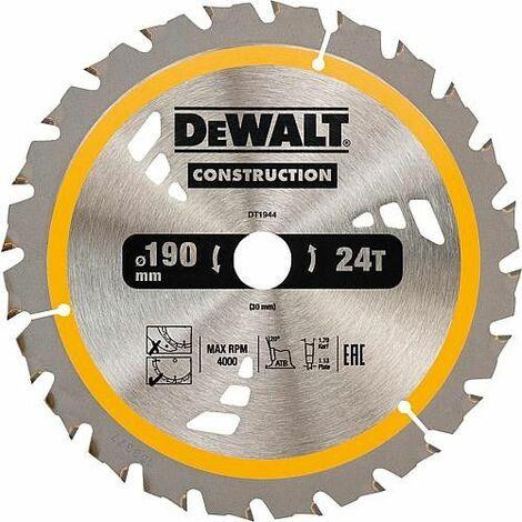 Lame de scie circulaire DeWalt Construction, ø 190 x 30 mm
