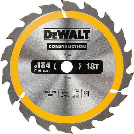 Lame de scie circulaire DeWALT construction D : 184x16x2,6mm avec 18 dents