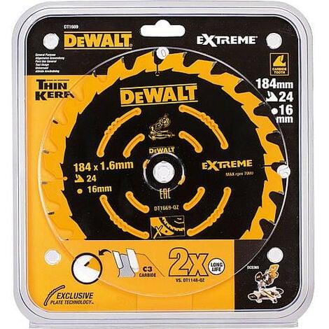 Lame de scie circulaire DeWALT Extreme special D : 184x16x1,6mm avec 24 dents