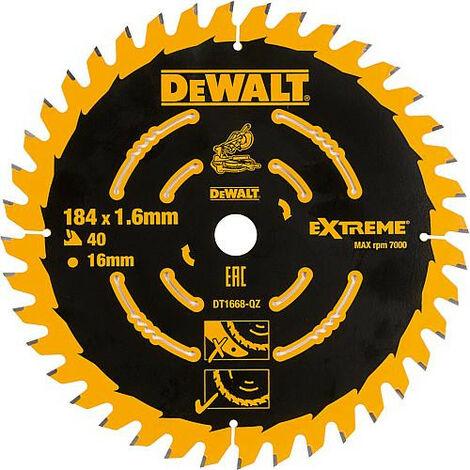 Lame de scie circulaire DeWALT Extreme special D : 184x16x1,6mm avec 40 dents