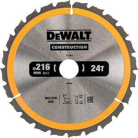 Lame de scie circulaire diam. 216 x 30 mm +24 dents alternes convient pour DeWalt DWS773