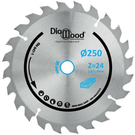 Lame de scie circulaire HM débit D. 250 x Al. 30 x ép. 2,8/1,8 mm x Z24 Alt pour bois - Diamwood