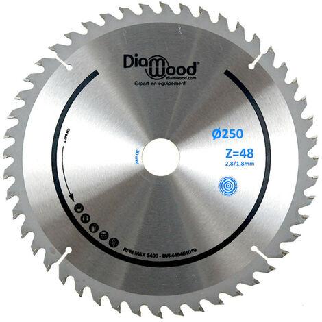 Lame de scie circulaire HM universelle D. 250 x Al. 30 x ép. 2,8/1,8 mm x Z48 Alt pour bois - Diamwood