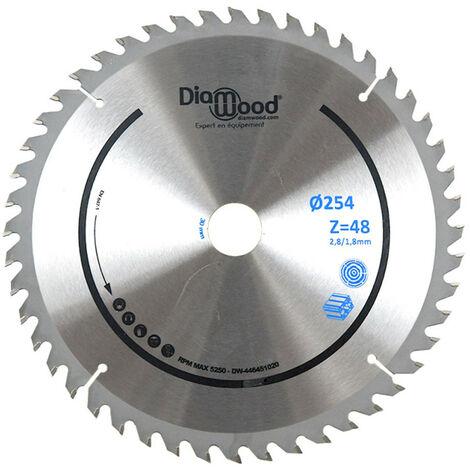 Lame de scie circulaire HM universelle D. 254 x Al. 30 x ép. 2,8/1,8 mm x Z48 TP Nég pour Alu/bois - Diamwood