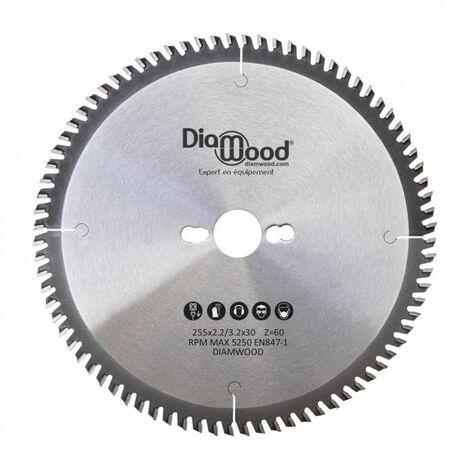 Lame de scie circulaire HM universelle D. 255 x Al. 30 x ép. 3,2/2,2 mm x Z60 Alt pour bois - Diamwood