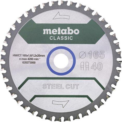 Lame de scie circulaire Metabo Steel Cut Classic 628273000 165 x 20 x 1.6 mm Nombre de dents: 40 1 pc(s)