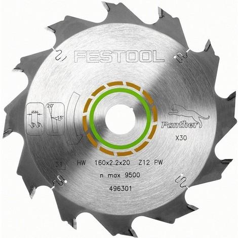 Lame de scie circulaire Panther FESTOOL - bois et tendre - Ø160 mm - 12 dents - 496301