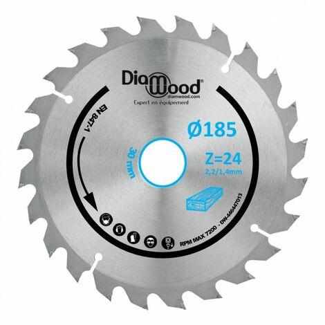 Lame de scie circulaire portative HM débit D. 185 x Al. 30 x ép. 2,2/1,4 mm x Z24 Alt pour bois - Diamwood