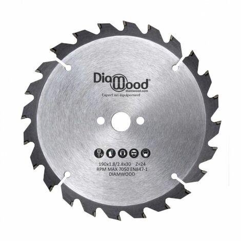 Lame de scie circulaire portative HM débit D. 190 x Al. 30 x ép. 2,8/1,8 mm x Z24 Alt pour bois - Diamwood