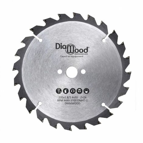 Lame de scie circulaire portative HM débit D. 235 x Al. 30 x ép. 2,8/1,8 mm x Z24 Alt pour bois - Diamwood