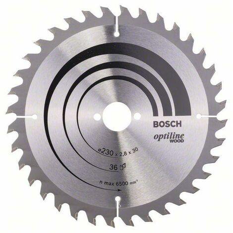 Lame de scie circulaire portative Optiline Wood ø 230 AL 30 mm 36 Dents BOSCH 2608640628