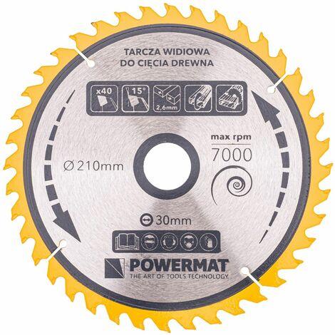 Lame de scie circulaire pour bois en carbure Ø 210x30 mm 40 dents