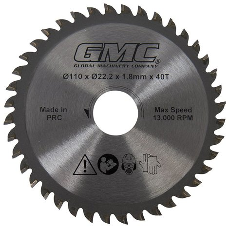 Lame de scie TCT - GTS1500 - 110 mm x 22,2 mm - 40 dents