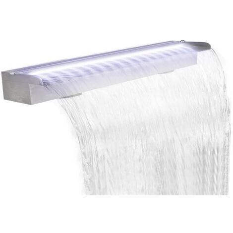 Lame d'eau rectangulaire a LED 150 cm en acier inoxydable pour piscine