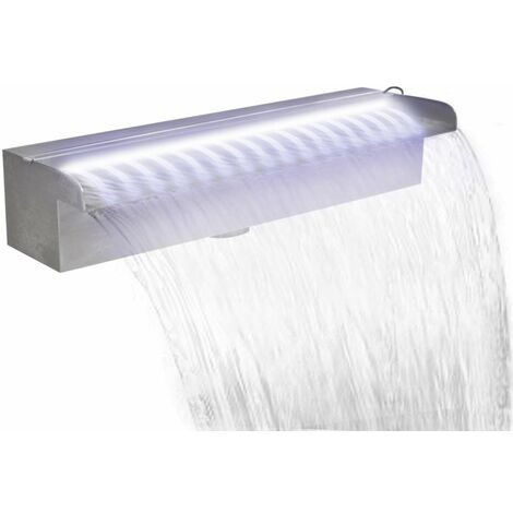 Lame d'eau rectangulaire à LED 45 cm en acier inoxydable pour piscine
