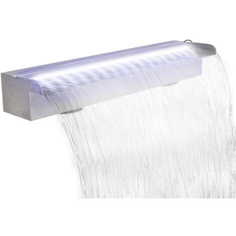 Lame d'eau rectangulaire à LED 60 cm en acier inoxydable pour piscine