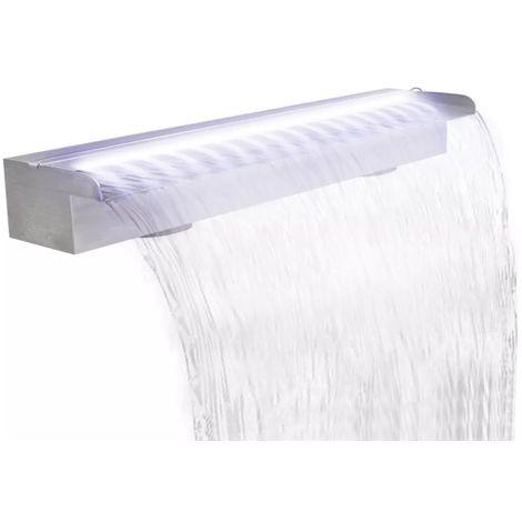 Lame d'eau rectangulaire à LED 90 cm en acier inoxydable pour piscine