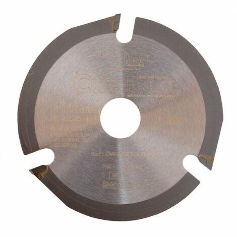 Lame disque multifonctions HM CUT-TOUT D. 115 x Al. 22,23 x ép. 2.8/2.2 mm x Z3 pour bois, plâtre, PVC - Diamwood