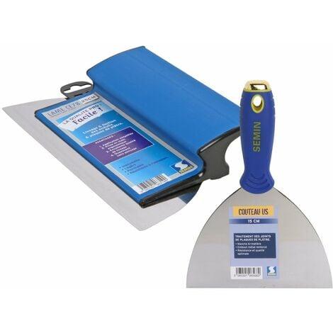 Lame pour enduire et lisser CE 78 Semin - 25 cm et un couteau US à enduire Semin - 15 cm