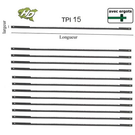 lame scie à chantourner 127mm avec ergot TPI 15 (x12)