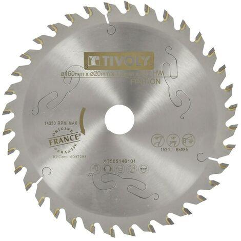 Lame Scie Circulaire à Bois Ø160mm TIVOLY 36 dents alesage Ø20mm bague Ø16mm Acier Carbure Coupe précise bois