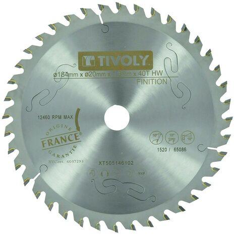 Lame Scie Circulaire à Bois Ø184mm TIVOLY 40 dents alesage Ø20mm bague Ø16 Acier Carbure Coupe super précise bois