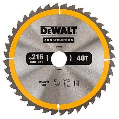 Lame scie circulaire DEWALT 216x30mm 40 dents