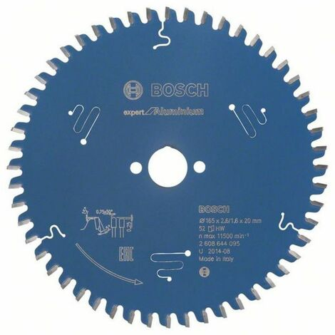 Lame scie circulaire Expert Alu BOSCH 52 dents 165x20x2,6/1,6 mm - 2608644095