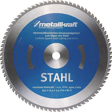Lame scie circulaire METALLKRAFT diam. 355x2,4x25,4mm pour acier, pour scie a onglet MTS 356