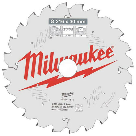 Lame scie circulaire MILWAUKEE pour scie à onglet 24 dents 2.4x216mm 4932471315