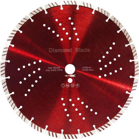 """main image of """"Lame scie diamantée Ø350mm alésage de 25,4mm segments de turbo de 10mm"""""""