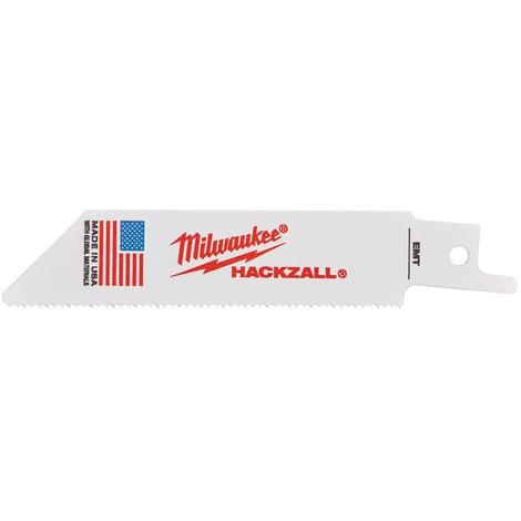 Lame scie sabre Hackzall 100 mm MILWAUKEE - Pour bois/PVC - 5 pièces - 49005460