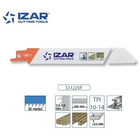 Lame scie sabre Izar S1122VF (lot de 5) bimétal 225 mm TPI 10-14