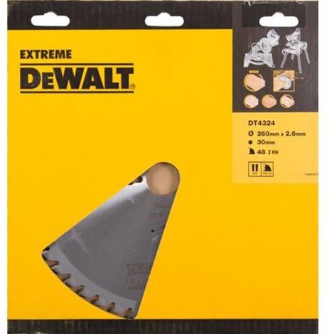 Lame scie stationnaire DT4324 Ø260 DEWALT pour tous usages - alésage 30 - 48 dents positif - DT4324