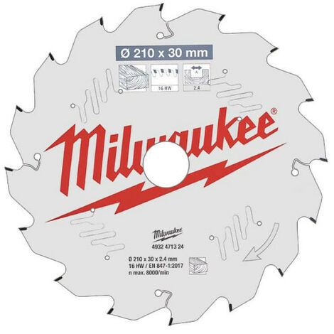Lame scie sur table MILWAUKEE 16 dents 2.4x210mm 4932471324