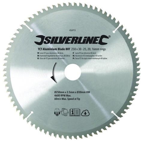 Lame TCT pour l'aluminium 80 dents - 250 x 30 - bagues de 25, 20 et 16 mm