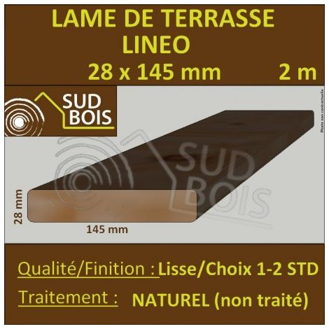 Lame Terrasse 28x145mm Douglas Naturel Lisse 2m