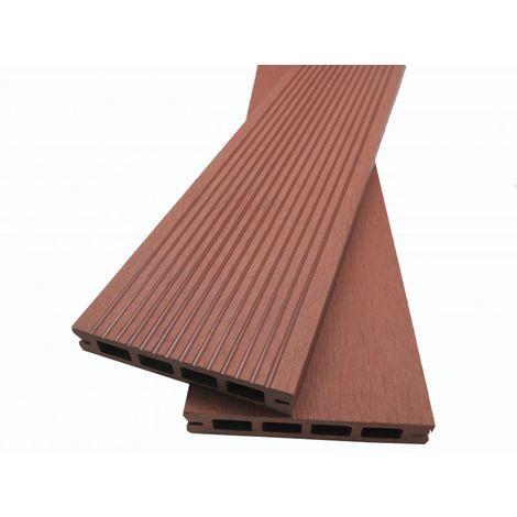 Lame terrasse bois composite alvéolaire Prima L 220 cm / l12 cm / ep 19 mm - Coloris - Brun rouge, Epaisseur - 19 mm, Largeur - 12 cm, Longueur - 220 cm, Surface couverte en m² - 0.26