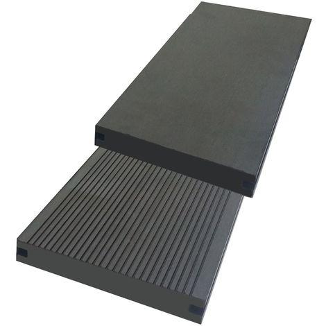 Lame terrasse PLEINE anth. Qualité PRO - lame bois composite réversible