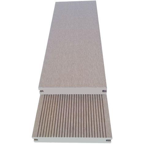 Lame terrasse PLEINE beige. Qualité PRO - lame bois composite réversible