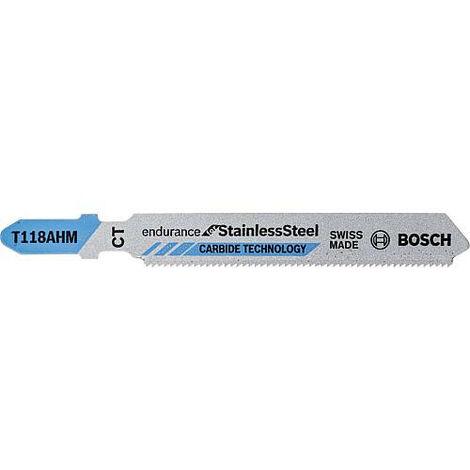 Lames de scie sauteuse BOSCH T118AHM, L : 83mm, 3 pieces, pour coupe droite du metal