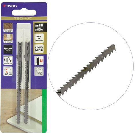 Lames de scie sauteuse X2 DOUBLE CUT TIVOLY Dents avant et arrière travail de précision - Attache Back&Decker type U